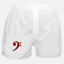 Red Bass Clef Love Note Boxer Shorts