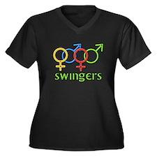 Swingers Women's Plus Size V-Neck Dark T-Shirt