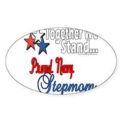 Proud Navy Stepmom Sticker (Oval 50 pk)