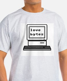 Love Bytes Ash Grey T-Shirt