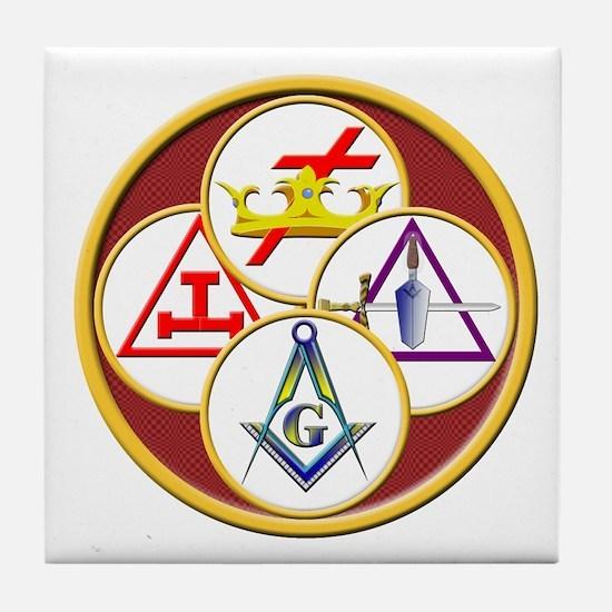 Masonic York Rite Circle Tile Coaster