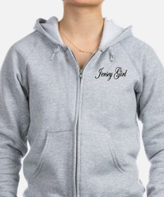 Jersey Girl White Letters Zip Hoodie