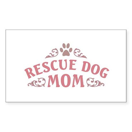 Rescue Dog Mom Sticker (Rectangle)