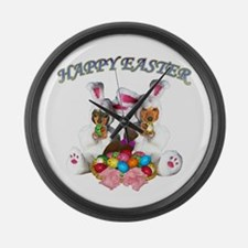 Easter Doxies Large Wall Clock
