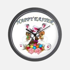 Easter Doxies Wall Clock