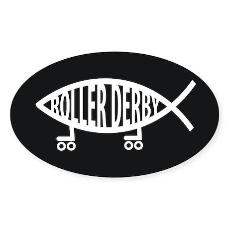Roller Derby Religion Sticker (Oval)