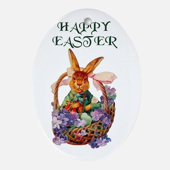 Vintage Easter Bunny Ornament (Oval)