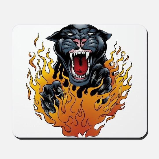 Flaming Jaguar Tattoo Mousepad