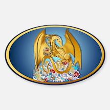 Big Gold Dragon and Globe Ova Decal