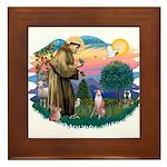 St Francis #2/ Whippet #7 Framed Tile