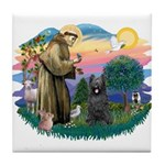 St Francis #2/ Briard (blk) Tile Coaster