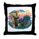 St Francis #2/ Briard (blk) Throw Pillow