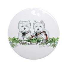 Sophie and Wesley Westie Wear!! Ornament (Round)