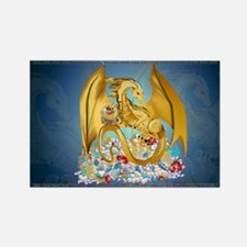 Big Gold Dragon and Globe Rectangle Magnet