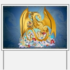 Big Gold Dragon and Globe Yard Sign