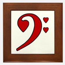 Red Bass Clef Love Note Framed Tile