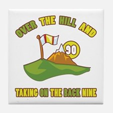 Golfing Humor For 90th Birthday Tile Coaster