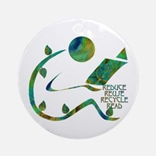 Four Rs Green Reader Ornament (Round)