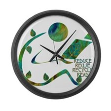 Four Rs Green Reader Large Wall Clock