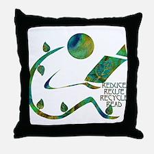 Four Rs Green Reader Throw Pillow
