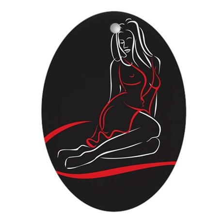 Sexy Woman Sketch Ornament (Oval)