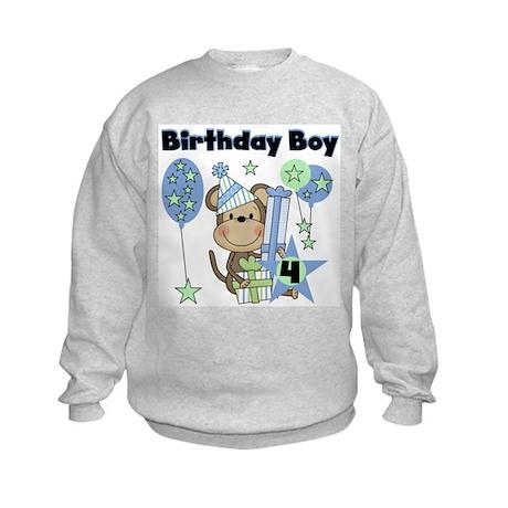 Monkey 4th Birthday Kids Sweatshirt