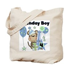 Monkey 4th Birthday Tote Bag