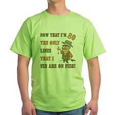 Hilarious Fishing 80th Birthday T-Shirt