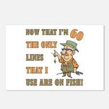 Hilarious Fishing 60th Birthday Postcards (Package