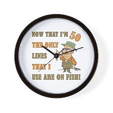Hilarious Fishing 50th Birthday Wall Clock