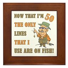 Hilarious Fishing 50th Birthday Framed Tile