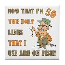 Hilarious Fishing 50th Birthday Tile Coaster