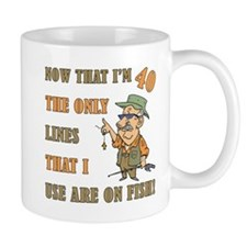 Hilarious Fishing 40th Birthday Small Mug