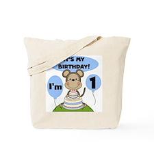 Boy Monkey 1st Birthday Tote Bag