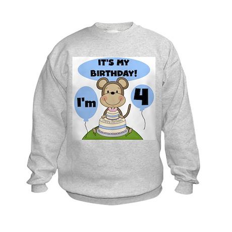Boy Monkey 4th Birthday Kids Sweatshirt