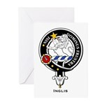 Inglis Clan Crest Badge Greeting Cards (Package of