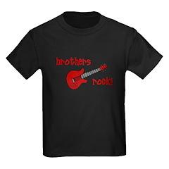 Brothers Rock! Red Guitar Kids Dark T-Shirt