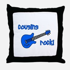 Cousins Rock! Blue Guitar Throw Pillow
