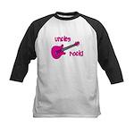 Uncles Rock! Pink Guitar Kids Baseball Jersey