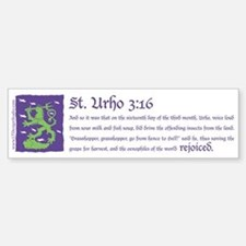 St. Urho 3:16 Sticker (Bumper)
