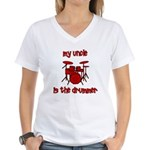 My Uncle is the Drummer Women's V-Neck T-Shirt
