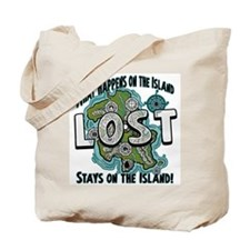 What happens on Lost Island Tote Bag