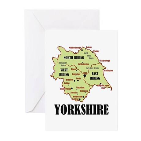 Yorkshire Map Greeting Cards (Pk of 10)