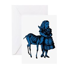 Alice with Fawn Blue Fill Greeting Card
