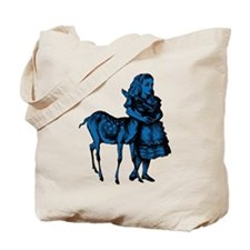 Alice with Fawn Blue Fill Tote Bag