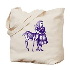 Alice with Fawn Purple Tote Bag