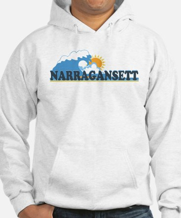 Narragansett RI - Waves Design Hoodie Sweatshirt