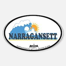 Narragansett RI - Waves Design Sticker (Oval)
