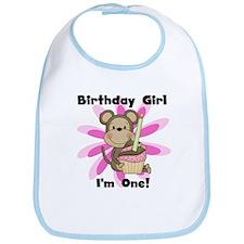Monkey 1st Birthday Girl Bib