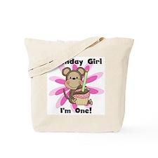 Monkey 1st Birthday Girl Tote Bag